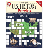 Carson-Dellosa, U.S. History Puzzles Activity Book, Reproducible Paperback, 48 Pages, Grades 4-8 and up