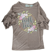 Southern Grace, Faith Over Fear, Kid's Ruffle Sleeve T-shirt, Charcoal Gray, Ages 8-10