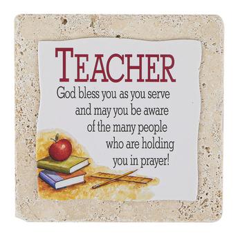 Product Concepts, Teacher Sentiment Plaque Tile, Multi-Colored, 4 x 4 Inches