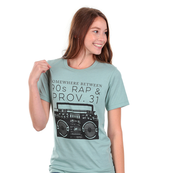 Ruby's Rubbish, Somewhere Between 90's Rap and Proverbs 31, Women's Short Sleeve T-shirt, Sage   Heather, S-2XL
