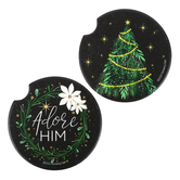 Renewing Faith, Adore Him Christmas Car Coasters, Absorbent Sandstone, 2 1/2 inches, Set of 2