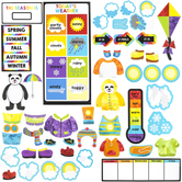 Carson Dellosa, Weather Mini Bulletin Board Set, Panda, Multi-Colored, 55 Pieces, Grades PreK-2
