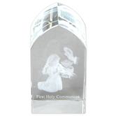 Christian Brands, First Communion Girl Etched Glass Plaque, 1 1/2 x 3 1/4 x 1 1/8 inches