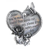 Abbey and CA Gift, Sister Heart Visor Clip, Pewter, 2 x 2 1/8 inches