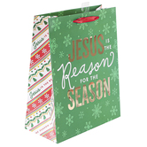 Renewing Faith, Jesus Is The Reason For The Season Medium Gift Bag, 11 1/2 x 9 1/2 x 4 1/2 inches