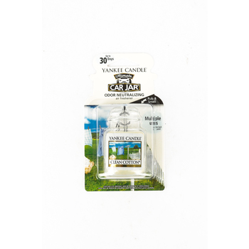 Yankee Candle, Car Jar Air Freshener, Clean Cotton, White