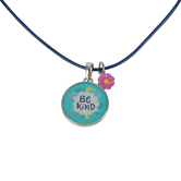 Glitter and Grace, Ephesians 4:32 Be Kind Cord Necklace, Blue/Silver, 16 inch Cord