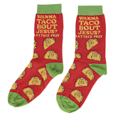 Kerusso, Wanna Taco Bout Jesus, Unisex Crew Socks, Red, 1 Pair, One Size Fits Most