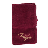 Swanson, Pastor Hand Towel, Cotton, Burgundy & Gold, 10 x 15 inches