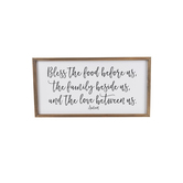 Bless the Food Before Us Wall Decor, MDF, White and Black, 12 9/16 x 24 7/16 x 1 5/16 inches