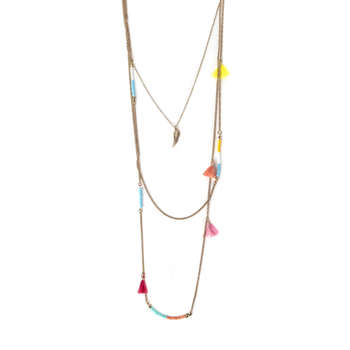 Radiant Sol, Gold Angel Wing with Tassels and Beads Layered Necklace Set, Iron and Glass, Assorted Chain Lengths