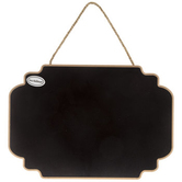 Large Shaped Black Chalkboard on Jute Rope, 16 x 11 inches