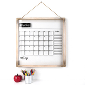 Acrylic Customizable Month Calendar Wall Hanging, Clear with Wood Frame, 24 x 24 Inches, 1 Each