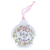 Brownlow Gifts, Babys 1st Christmas Ornament, Metal, Pink, 4 1/4 inches