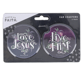 Renewing Faith, Live and Love Jesus Car Coaster Set, Absorbent Sandstone, 2 1/2 inches