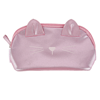 Stephen Joseph, Cat Shimmer Pouch, Polyurethane, Pink, 4 1/2 x 8 inches