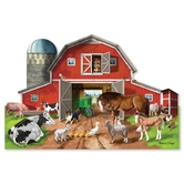 Melissa & Doug, Busy Barn Yard Shaped Floor Puzzle, Ages 3 to 5 Years Old,  32 Pieces