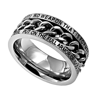 Spirit & Truth, Isaiah 54:17 and Ephesians 6:11, No Weapon, Inset Chain, Men's Ring, Stainless Steel