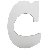 Letter C, White Wood, 9 inches