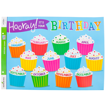 Renewing Minds, Customizable Happy Birthday Chart, Cupcakes, 22 x 17 Inches, Horizontal, 1 Each