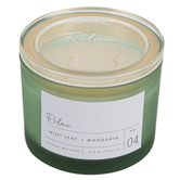 Winfield Home Decor, Relax Frosted Glass Jar Candle, Green, 10 ounces, 4 1/4 x 3 1/2 inches