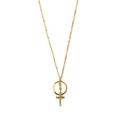Loved By Design, Circle with Flowers and Cross Necklace, Gold Plated, 24 Inches