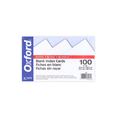 Oxford, Blank Index Cards, 5 x 8 Inch, White, Set of 100