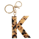 K Letter Keychain, Leopard, 2 3/4 x 2 1/4 Inches