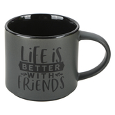 Dexsa, Life Is Better With Friends Stacking Mug, Ceramic, Gray and Black, 16 Ounces