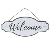 Welcome Metal Wall Décor, White and Black, 12 x 5 inches