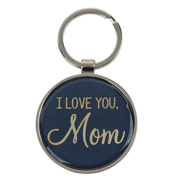 Christian Art Gifts, Proverbs 31:29, I Love You Mom Keyring in Tin, Metal, Silver and Blue , 3 x 2 inches
