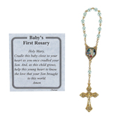 H.J. Sherman, Baby's First Rosary-Boy, Gold Metal, Blue Beads, 2 3/4 x 3 inches