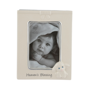 Precious Moments, Heaven's Blessing Lamb Photo Frame, Ceramic, for 4 x 6 Photo, 8 1/2 x 6 1/2 inches