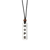 Faith Spark, Hope with Bead Cord Necklace, Zinc Alloy and Polyester and Wood, Black and Silver, 24 Inch Cord