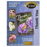 Divinity Boutique, Chalk Flowers Boxed Thank You Cards, 12 Cards with Envelopes
