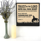 Proverbs 3:5-6 Trust In The Lord Wall Plaque, MDF, Black and Natural, 15 x 15 x 3/4 Inches