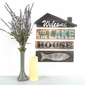 Welcome To The Lake House Wall Plaque, MDF, 17 x 15 inches