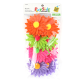Playside Creations, Felt Daisy Stickers, Assorted Colors, 8 Count