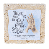 Product Concept Manufacturing, Proverbs 20:7 Praying Hands Dad Tabletop Tile, Resin, Stone, 4 x 4 x 1/2 inches