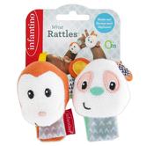 Infantino, Monkey & Panda Wrist Rattles, 2 Pieces