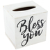 Young's, Inc., Bless You Tissue Box Holder, MDF Wood, White, 6 x 6 x 5 1/2 inches