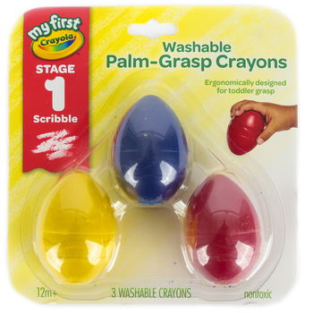 Crayola, My First Washable Palm-Grasp Crayon Set, 3 Count, Assorted Colors, Ages 12 months and up