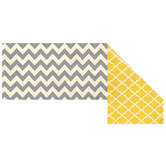Renewing Minds, Wide Double-Sided Border Trim, 38 Feet, Distressed Grey Chevron and Gold Quatrefoil