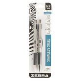 Zebra, Mechanical Pencil and Pen Set, Stainless Steel, Silver and Black, 2 Pieces