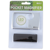 Mighty Bright, LED Lighted Wallet Magnifier, Silver, 2 x 1/2 x 3 1/2 inches