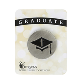 Dicksons, Graduation Pocket Coin, Zinc Alloy, Silver & Black, 1 1/4 x 1 1/4 inches
