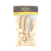 Woodpile Fun, Predrilled Wooden Blocks with Dowels, Natural Wood, 135 Pieces