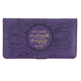 Christian Art Gifts, Proverbs 31:25 Strength and Dignity Checkbook Cover, Purple, 3 3/4 x 7 inches