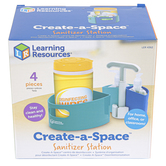 Learning Resources, Create-a-Space Sanitizer Station, Blue and White, 5.85 x 3.70 Inches, 4 Pieces