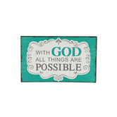 Matthew 19:26 With God All Things Are Possible Tabletop Plaque, MDF, 5 3/4 x 9 1/2 inches